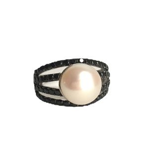 Honora Pearl Ring Black Spinel Sterling Silver 8
